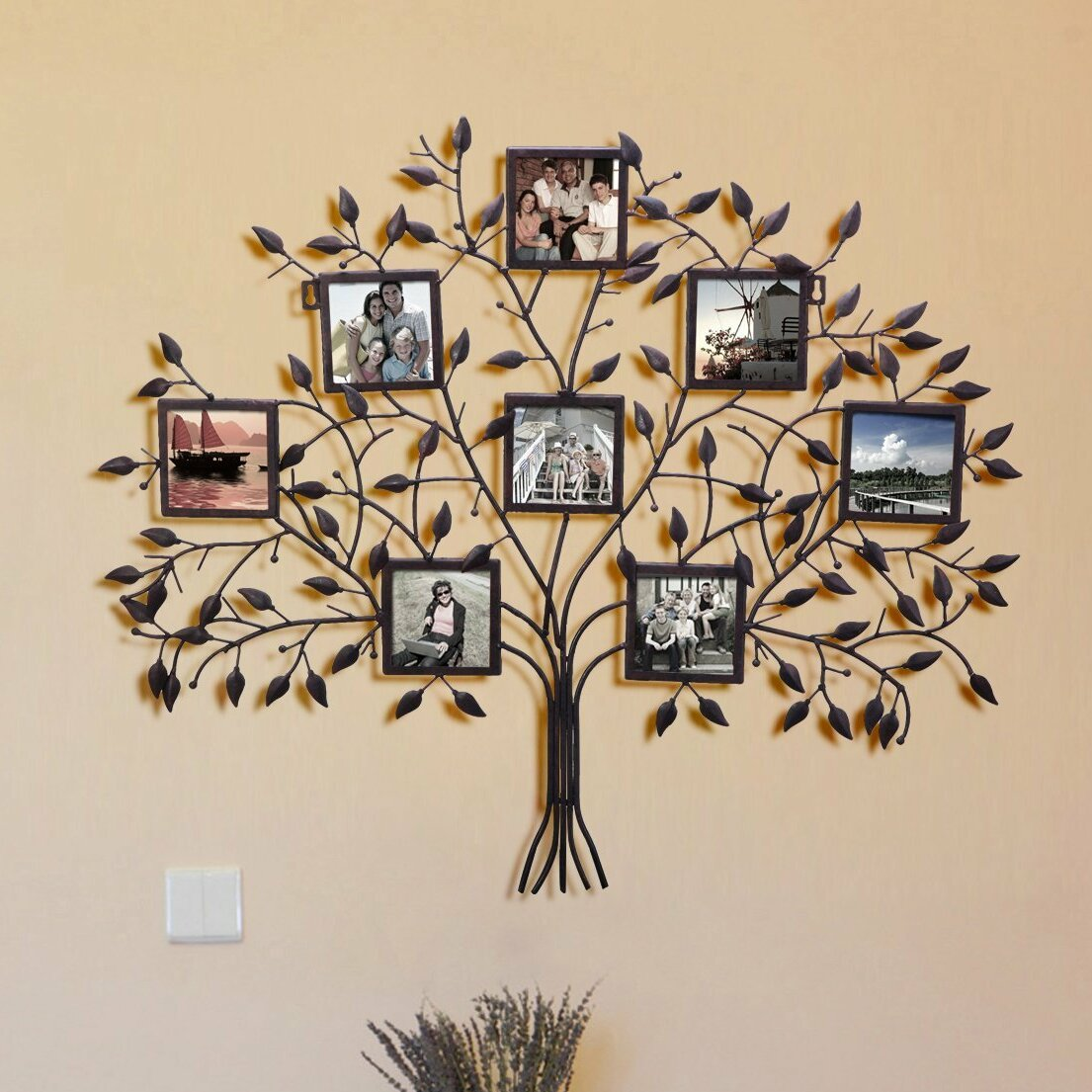 adecotrading 8 opening decorative family tree wall hanging collage picture frame reviews wayfair. Black Bedroom Furniture Sets. Home Design Ideas