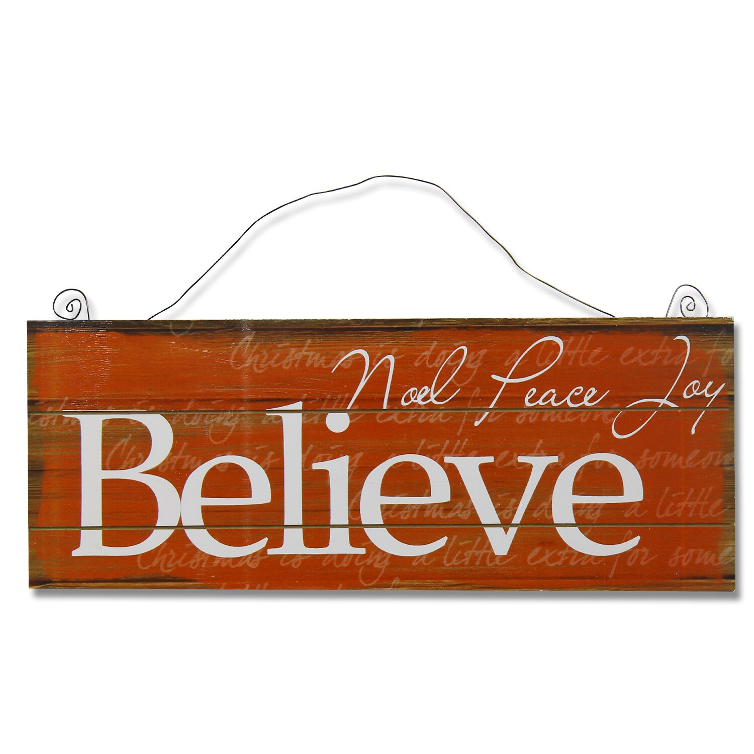 Wall Decorations Orange : Adecotrading quot believe wall d?cor in burnt orange white