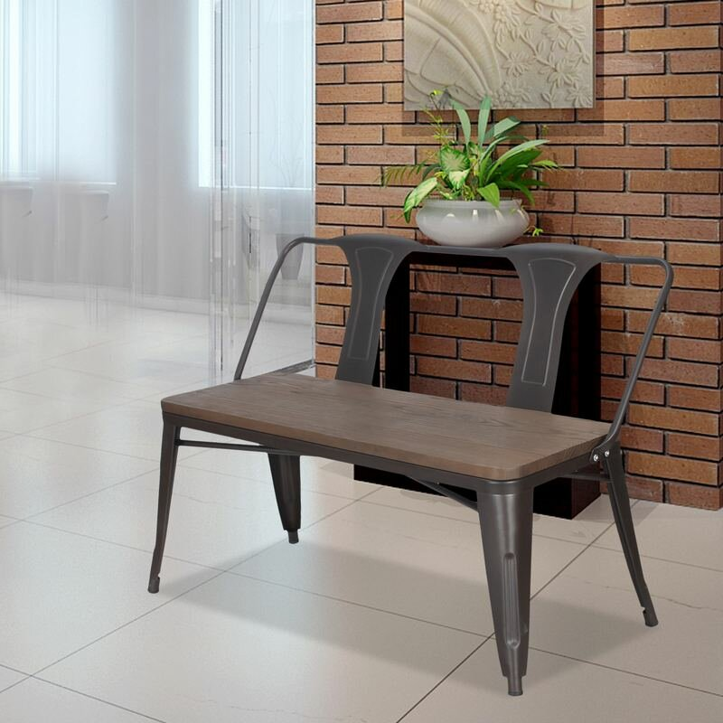 Foyer And Entryways Reviews : Adecotrading metal and wood entryway bench reviews wayfair