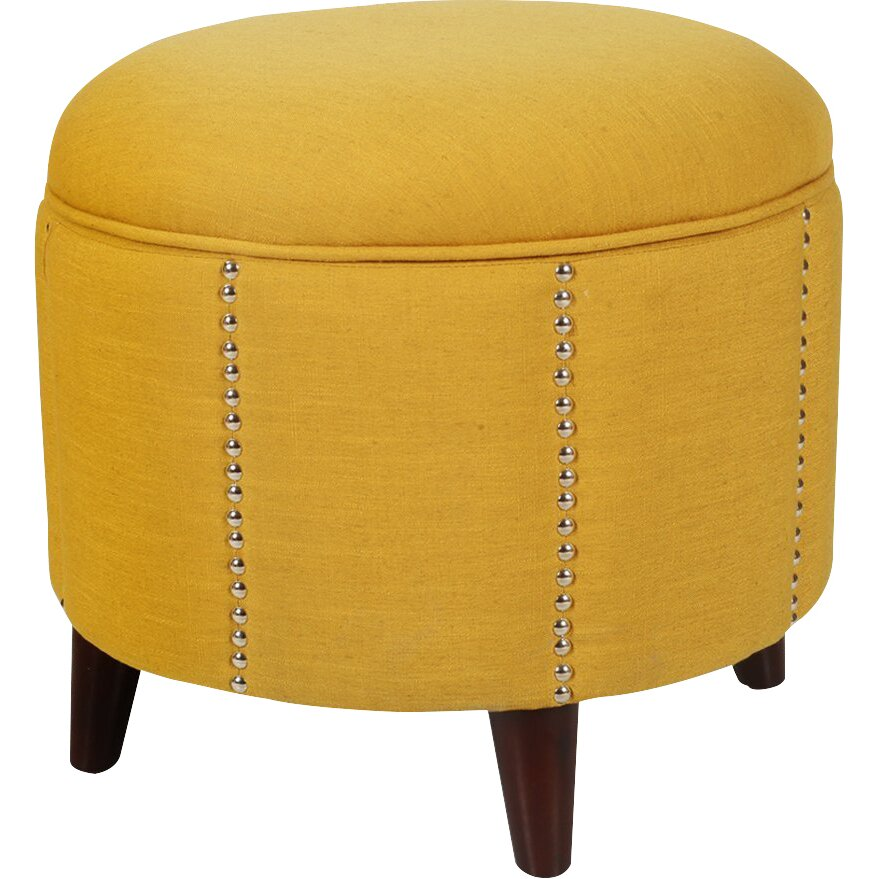 Adecotrading Button Tufted Lift Round Storage Ottoman