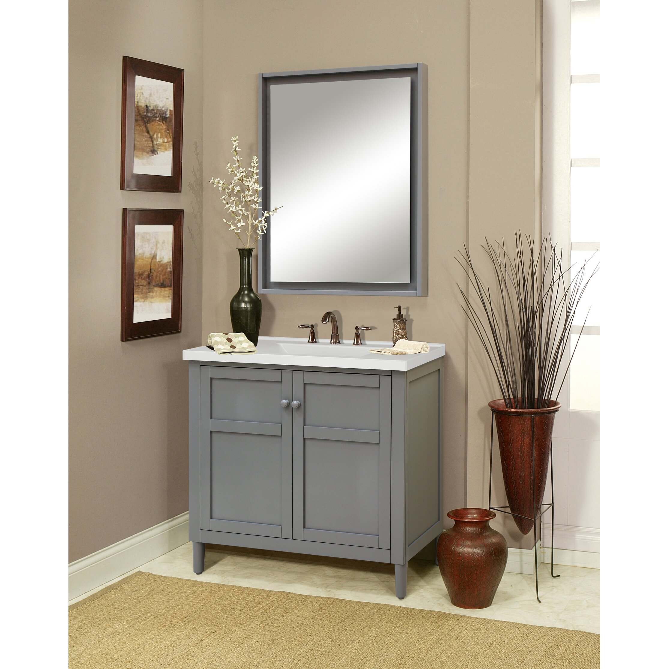 """Sunny Wood Premier Tops 37"""" Bathroom Vanity Top with Integrated Basin &a"""