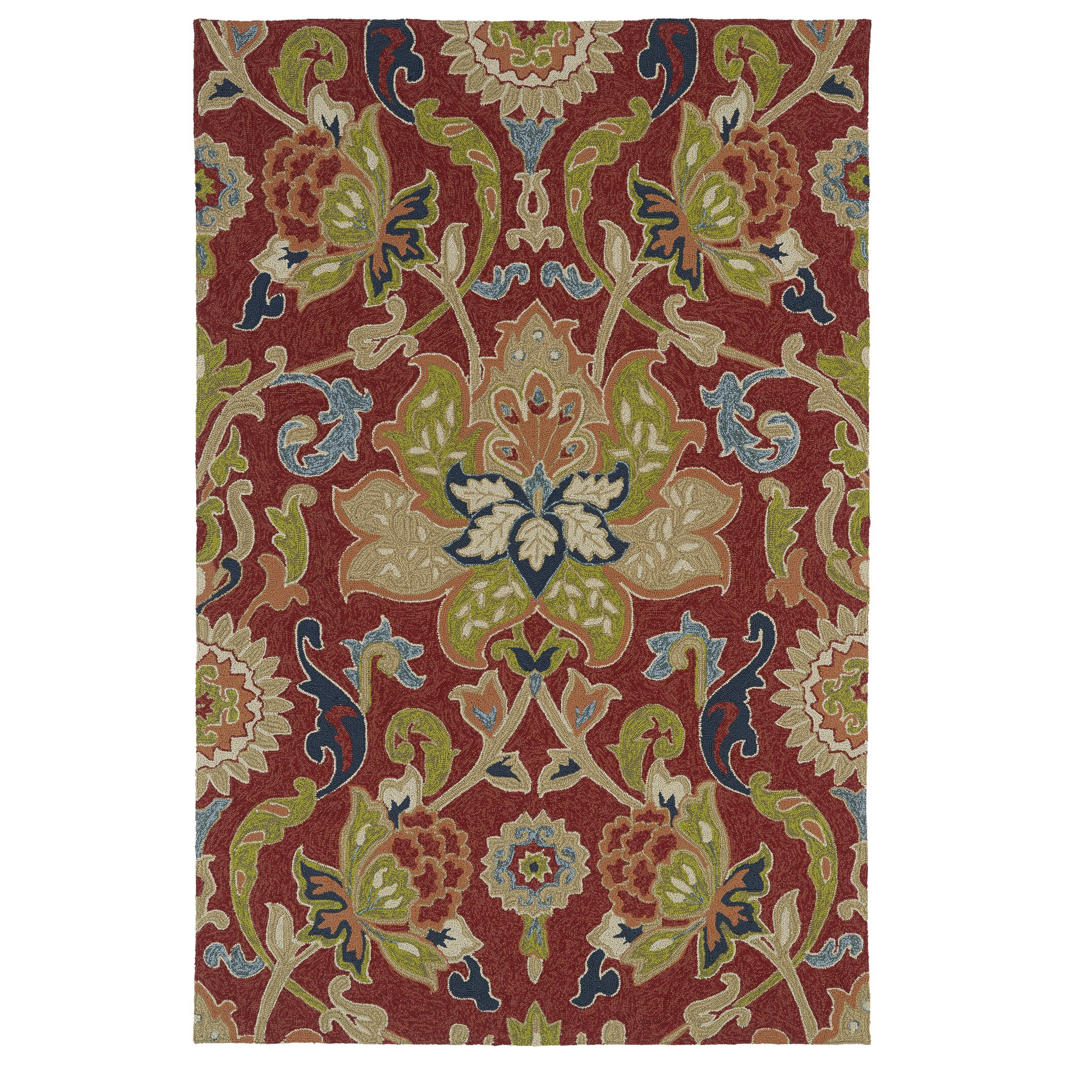 Kaleen home and porch red floral and plants indoor outdoor for Red floral area rug