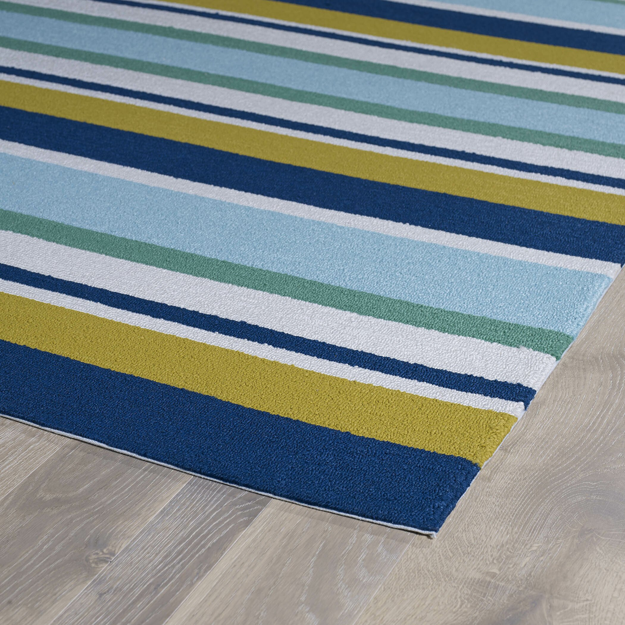 Kaleen Matira Hand Tufted Stripe Blue Indoor Outdoor Area