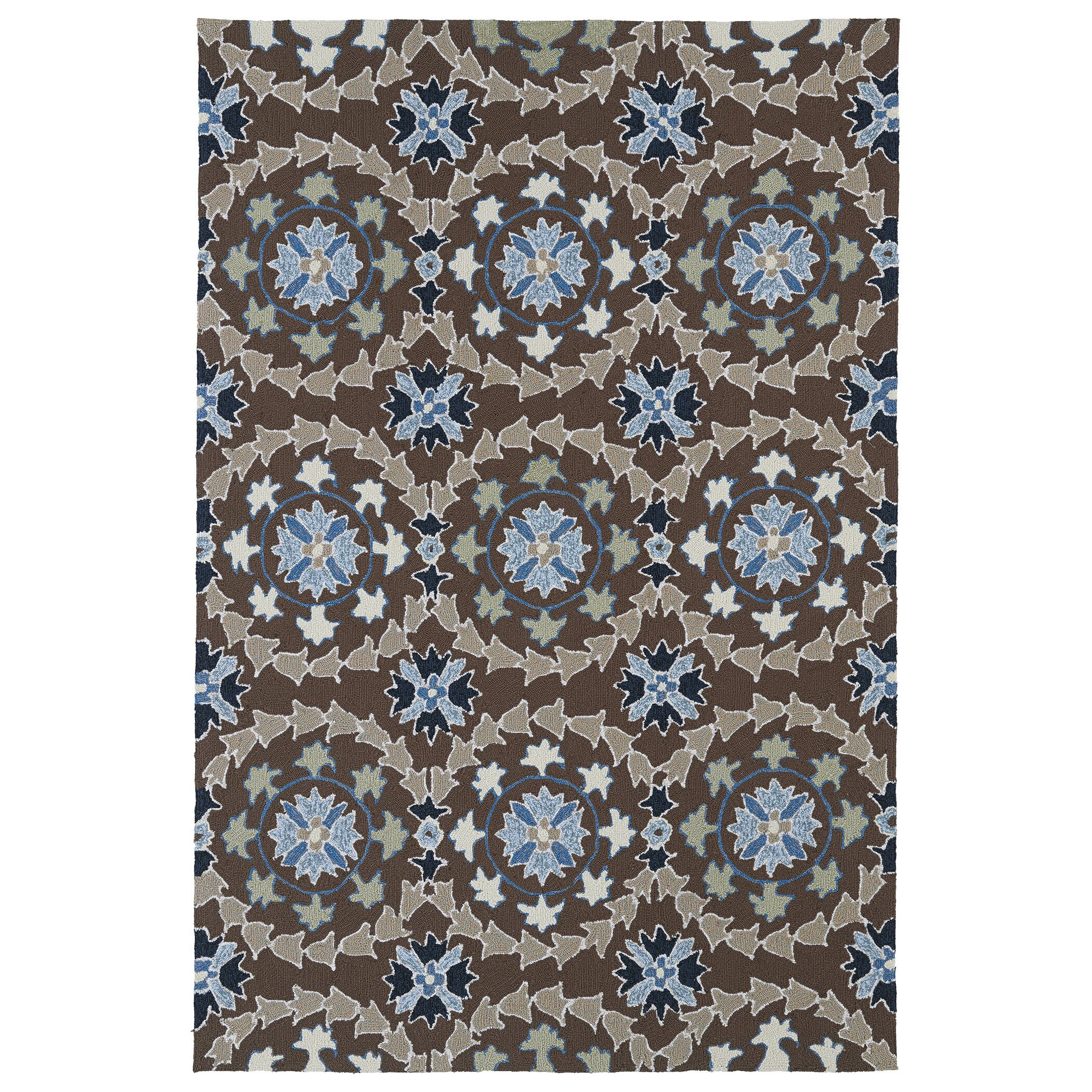 Kaleen home and porch hand woven blue brown indoor outdoor for Woven vinyl outdoor rugs