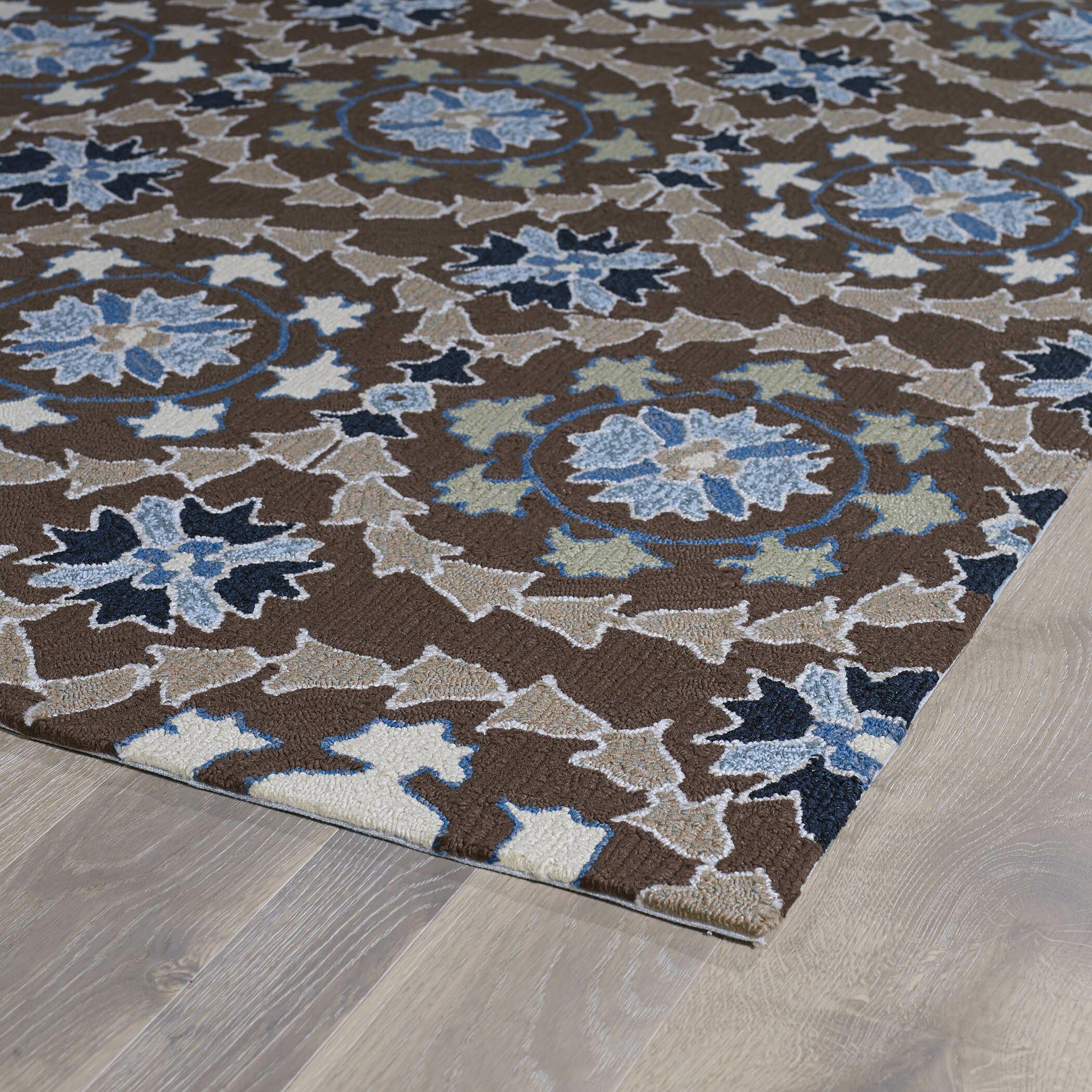 Kaleen home and porch hand woven blue brown indoor outdoor for Blue indoor outdoor rug