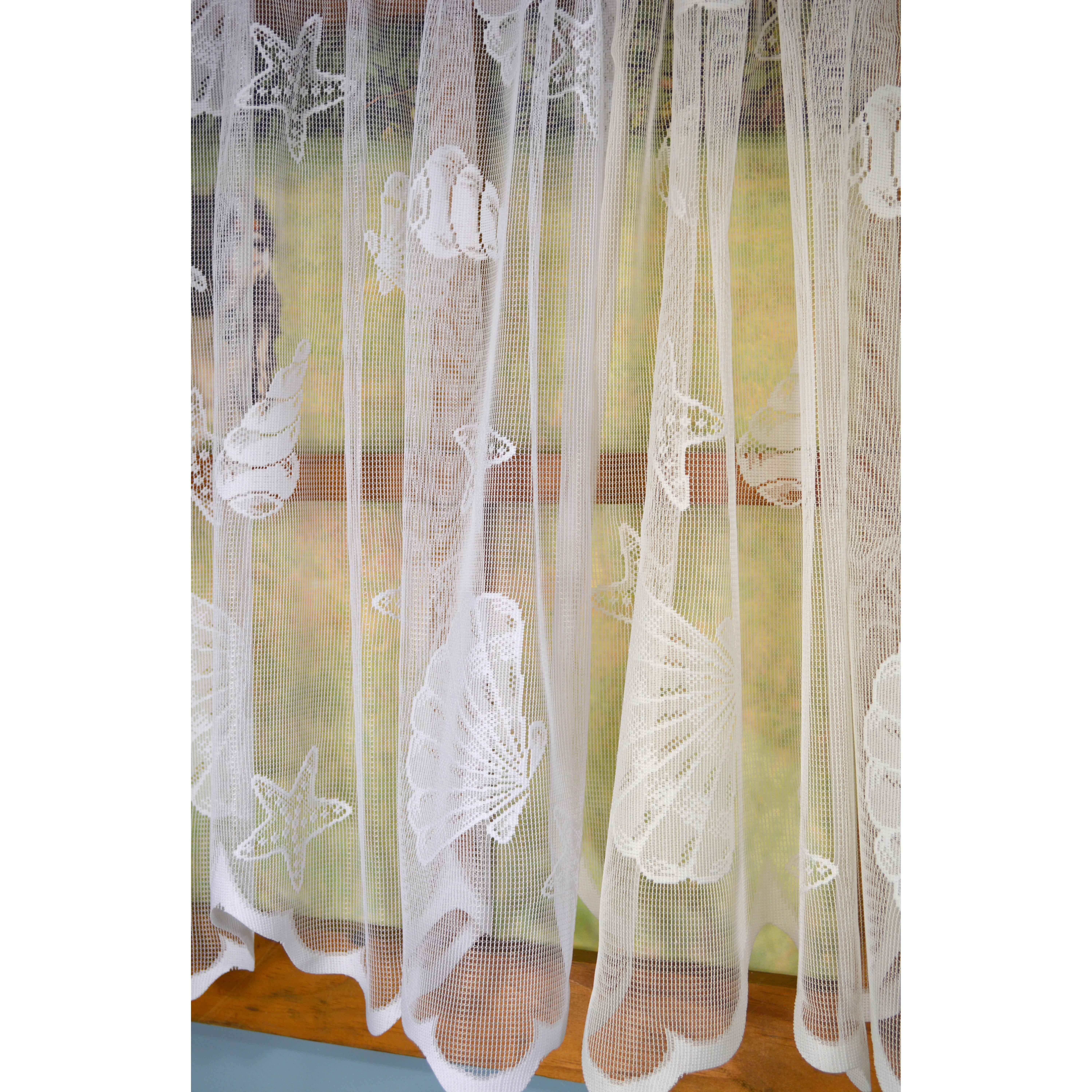 "Curtain Chic Seashell Lace Scalloped Bottom 56"" Valance"