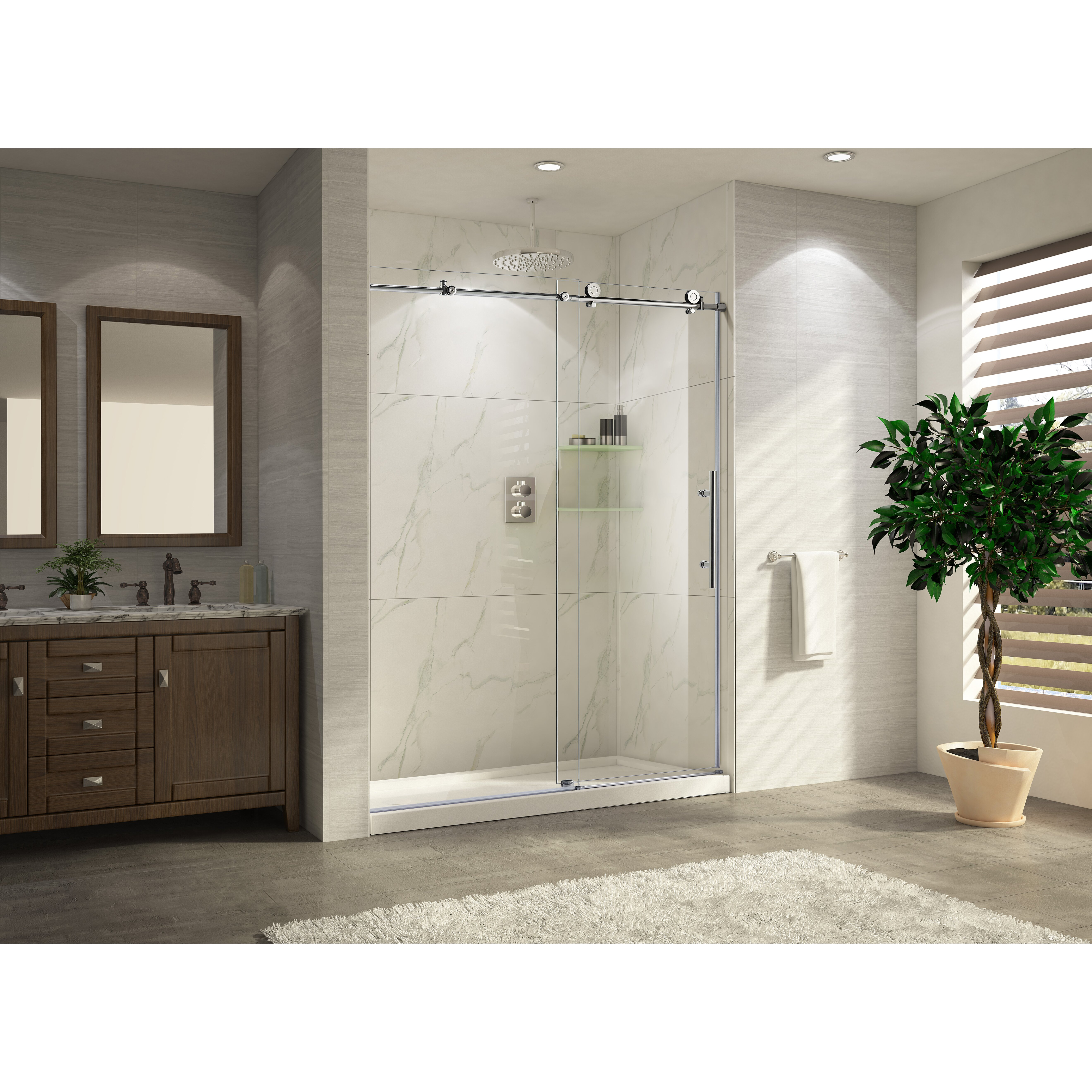 Wet Republic Trident Lux 60 39 39 X 76 39 39 Single Sliding Shower Door Wayfair