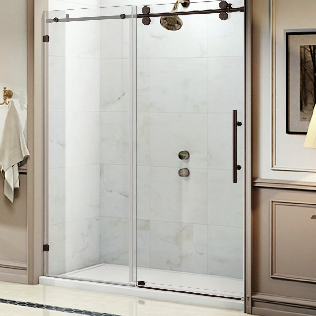 Wet Republic Equinox 60 39 39 X 62 39 39 Single Sliding Frameless Shower Door Wayfair