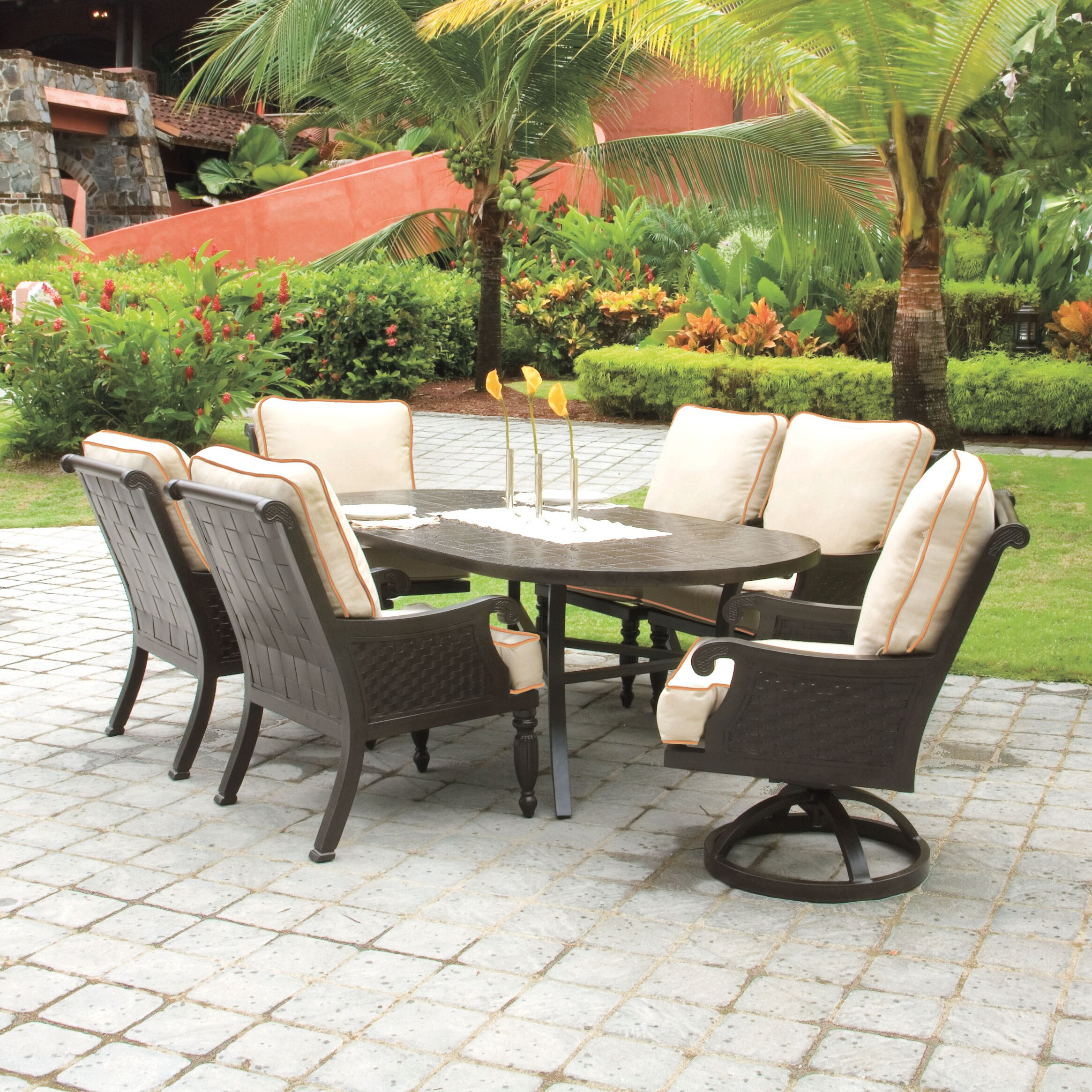 Pride family brands jakarta 7 piece dining set with for Outdoor furniture jakarta