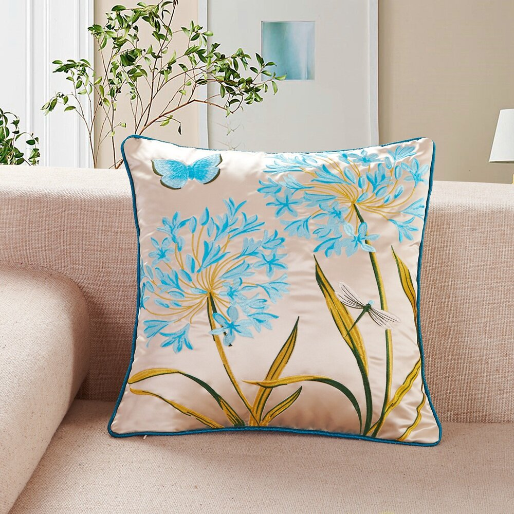 Calla Angel Embroidered Butterfly and Dragonfly Throw Pillow & Reviews Wayfair