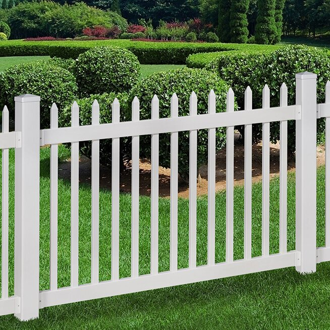 Wam bam no dig fence nantucket vinyl picket fence with post and pipe anchor kit reviews wayfair - Vinyl railing reviews ...