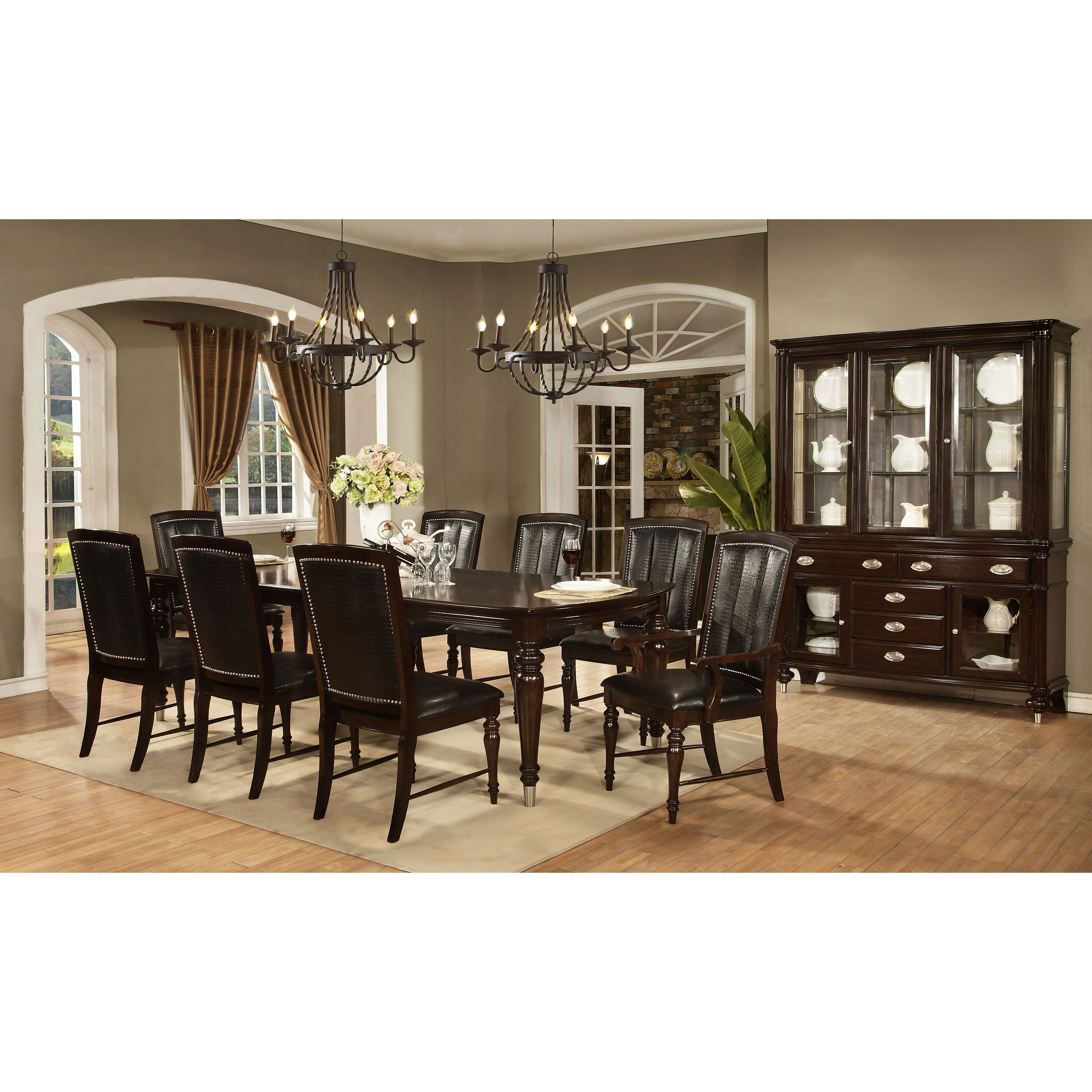 Avalon furniture dundee place 9 piece dining set reviews for Dining room furniture 9 piece