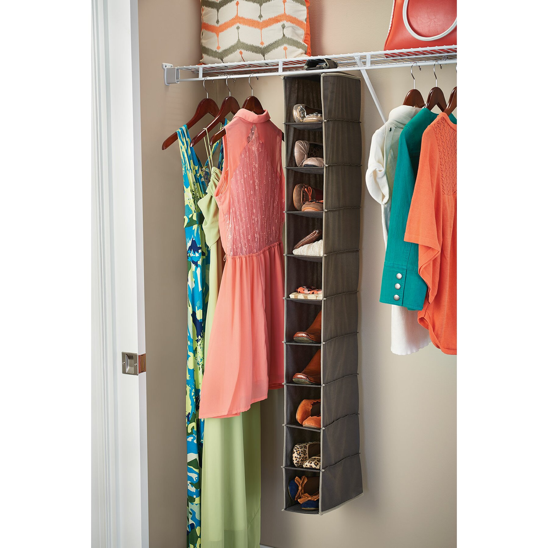 closetmaid 10 shelf closet hanging organizer reviews. Black Bedroom Furniture Sets. Home Design Ideas