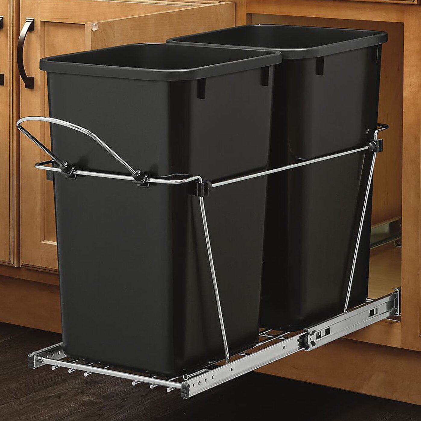 rev a shelf double 6 7 gallon roll out waste container. Black Bedroom Furniture Sets. Home Design Ideas
