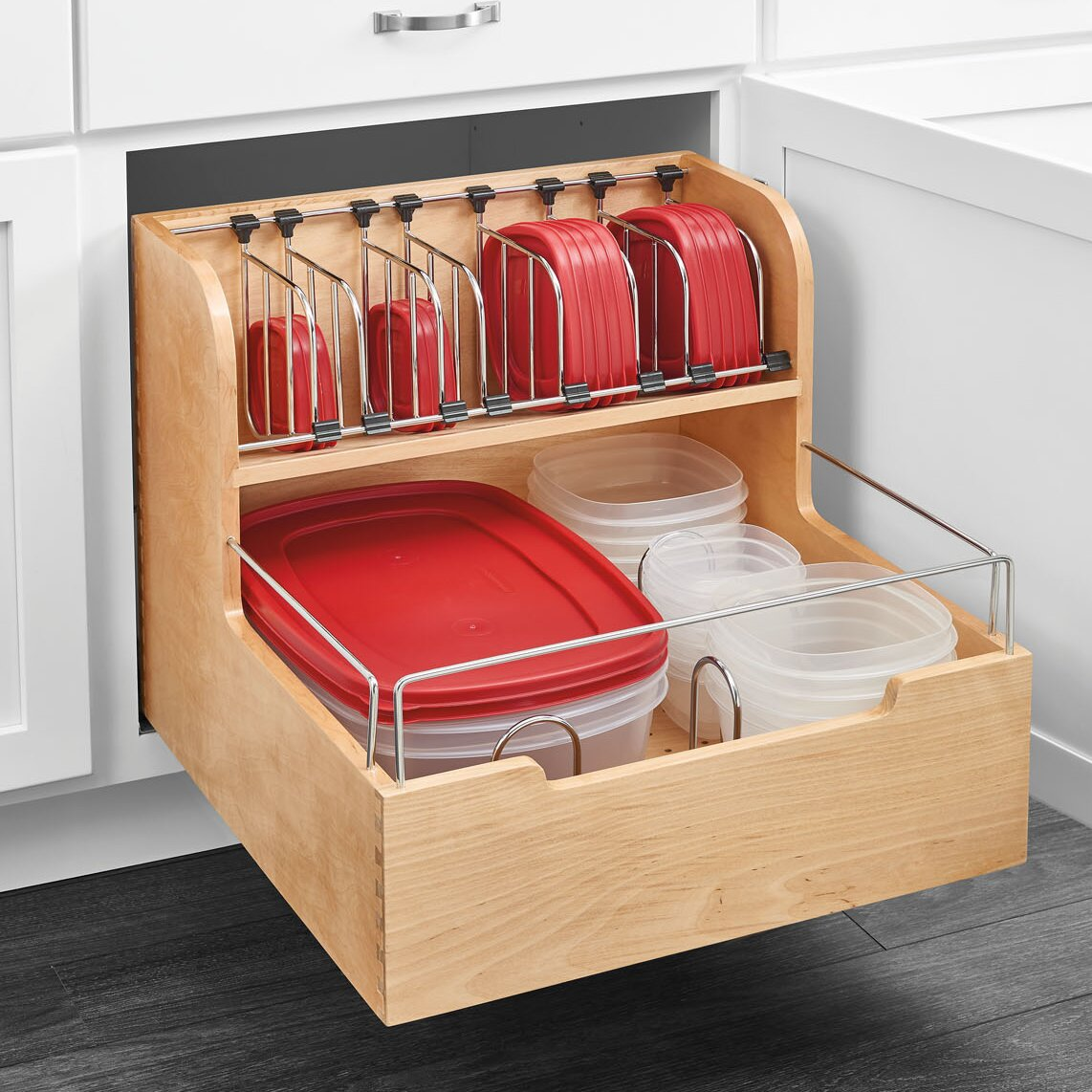 Rev a shelf wood food storage container organizer for base for Kitchen cabinets 24x24