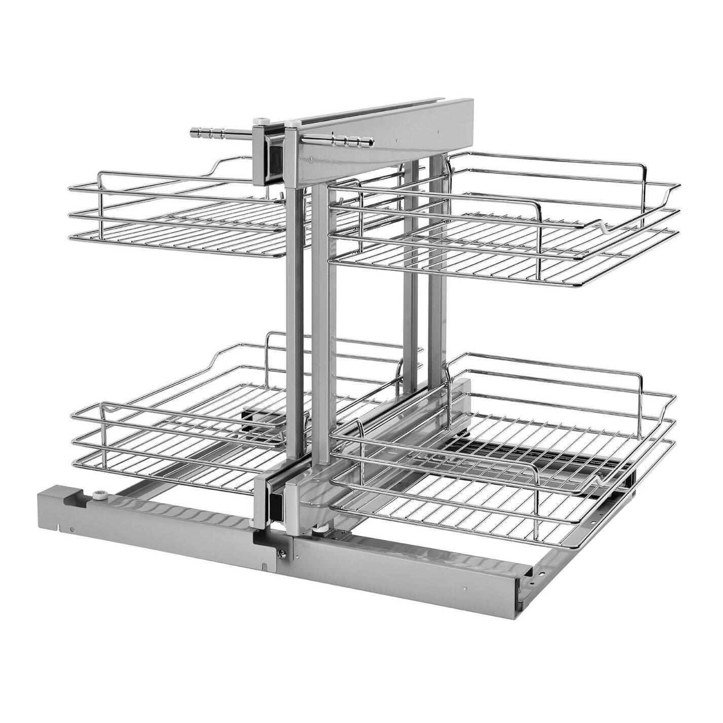 rev a shelf corner cabinet pull out chrome 2 tier basket. Black Bedroom Furniture Sets. Home Design Ideas