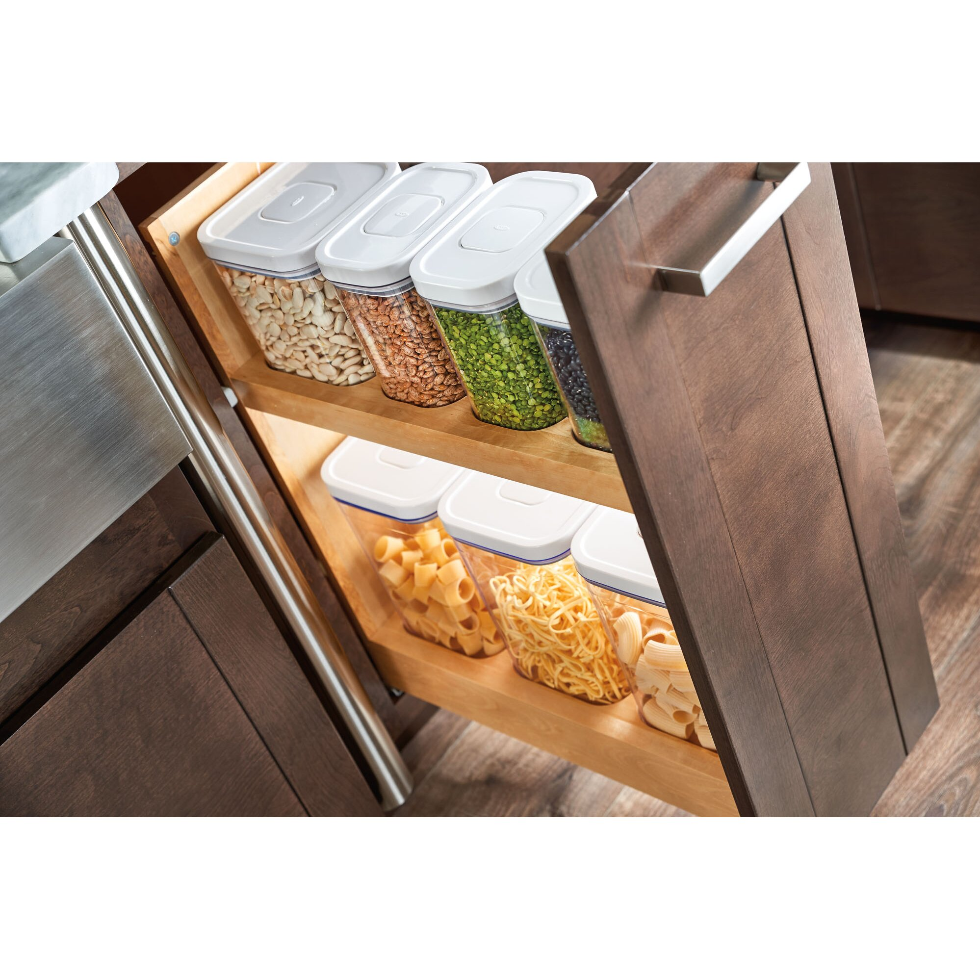Pull Out Cabinet Base Cabinet Pull Out Shelves Pull Out: Rev-A-Shelf Pull-Out Wood Base Cabinet OXO Organizer
