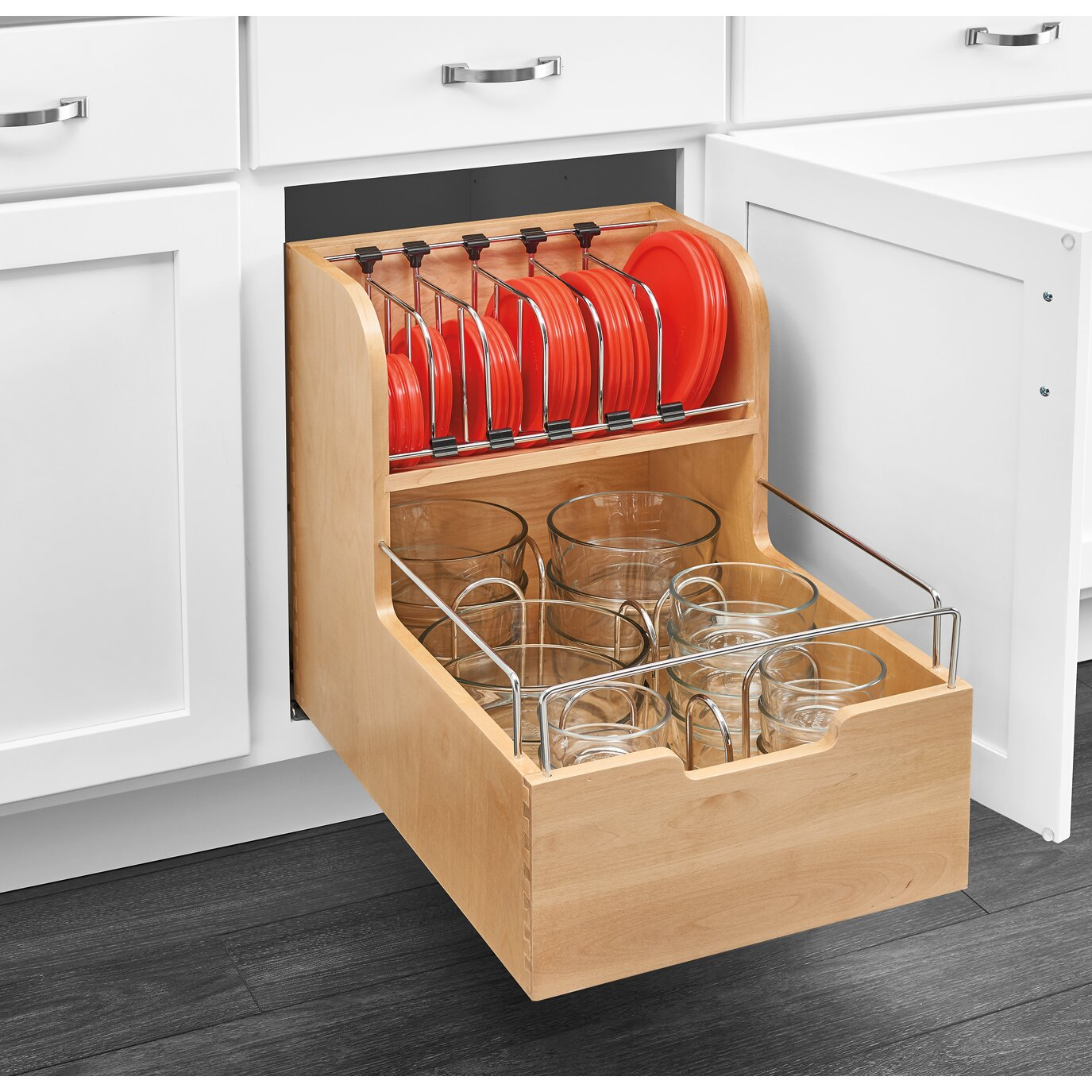 Rev-A-Shelf Wood Food Storage Container Organizer For Base