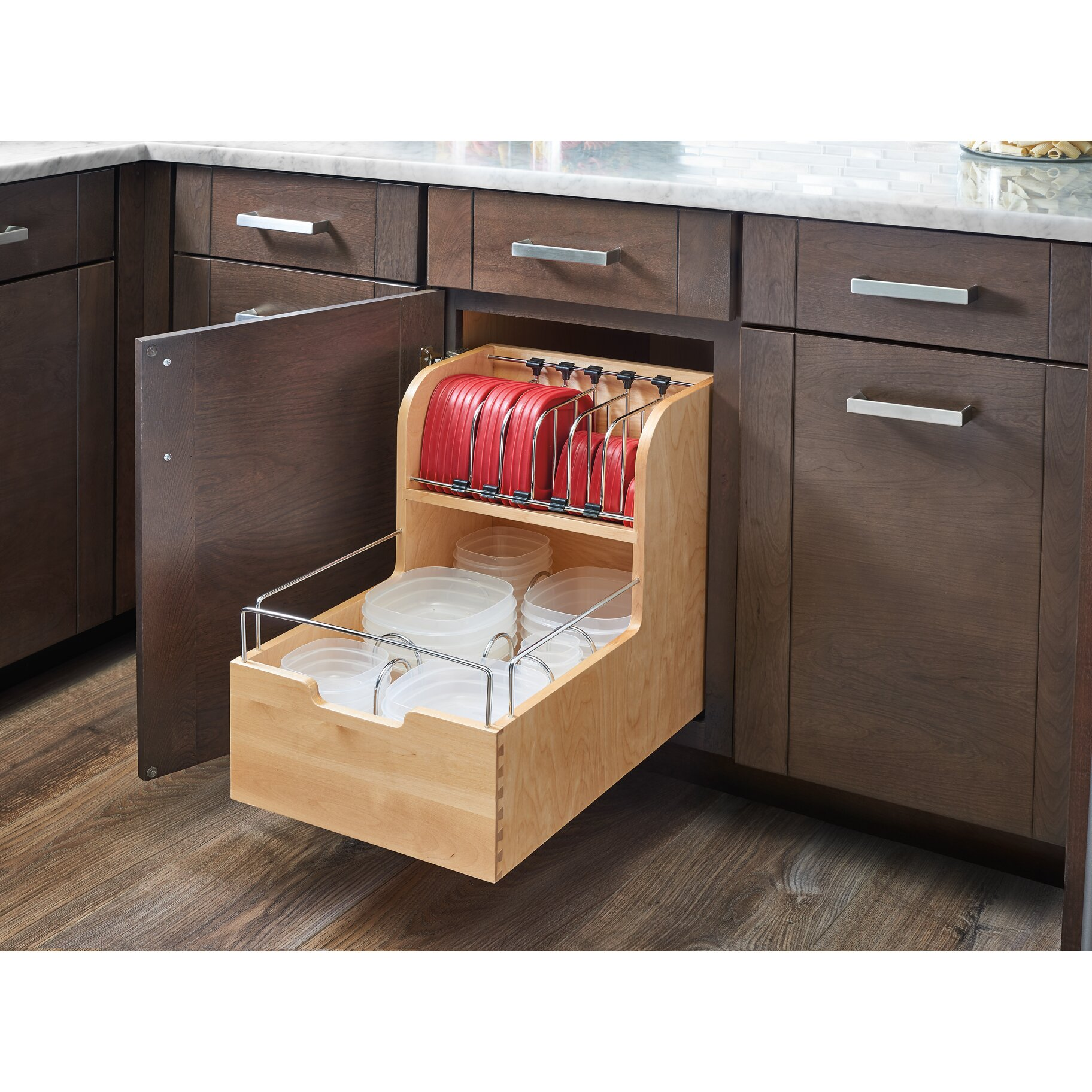 Kitchen Shelf Organiser: Rev-A-Shelf Wood Food Storage Container Organizer For Base