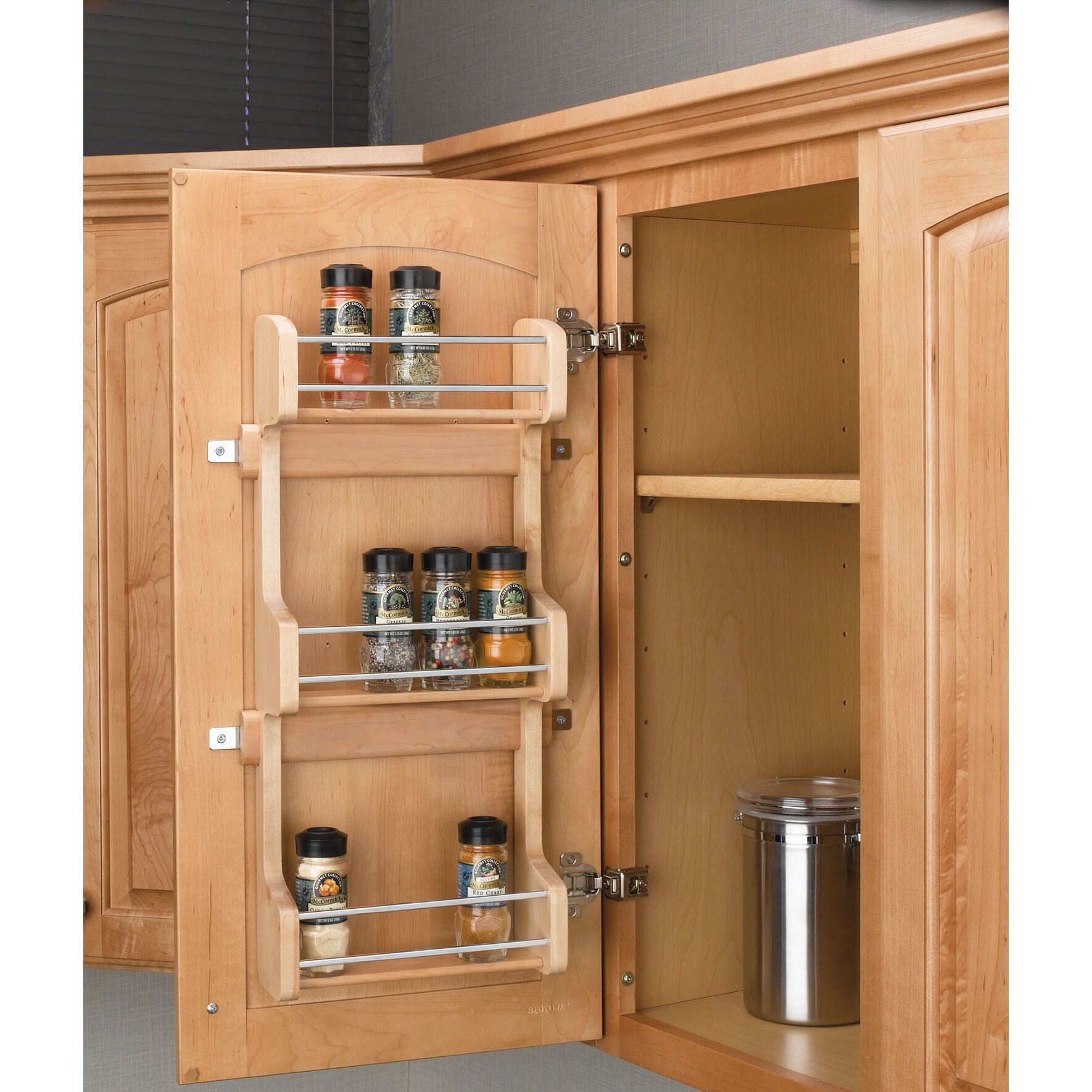 Spice Rack For Kitchen Cabinets: Rev-A-Shelf Cabinet Door Mount 3 Shelf Spice Rack