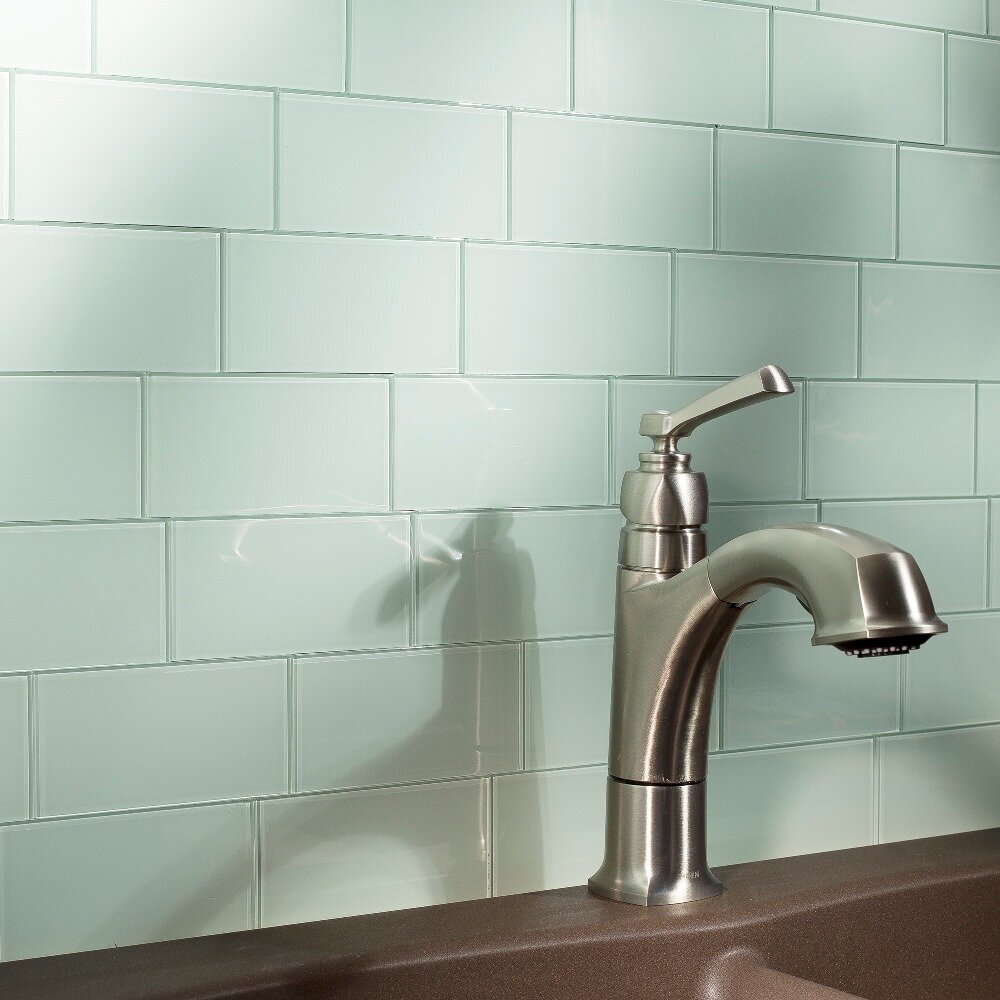aspect morning dew 3 x 6 glass peel stick subway tile