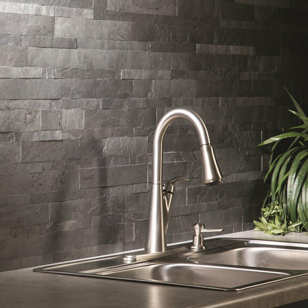 aspect 6 x 24 natural stone peel stick mosaic tile in charcoal slate wayfair. Black Bedroom Furniture Sets. Home Design Ideas
