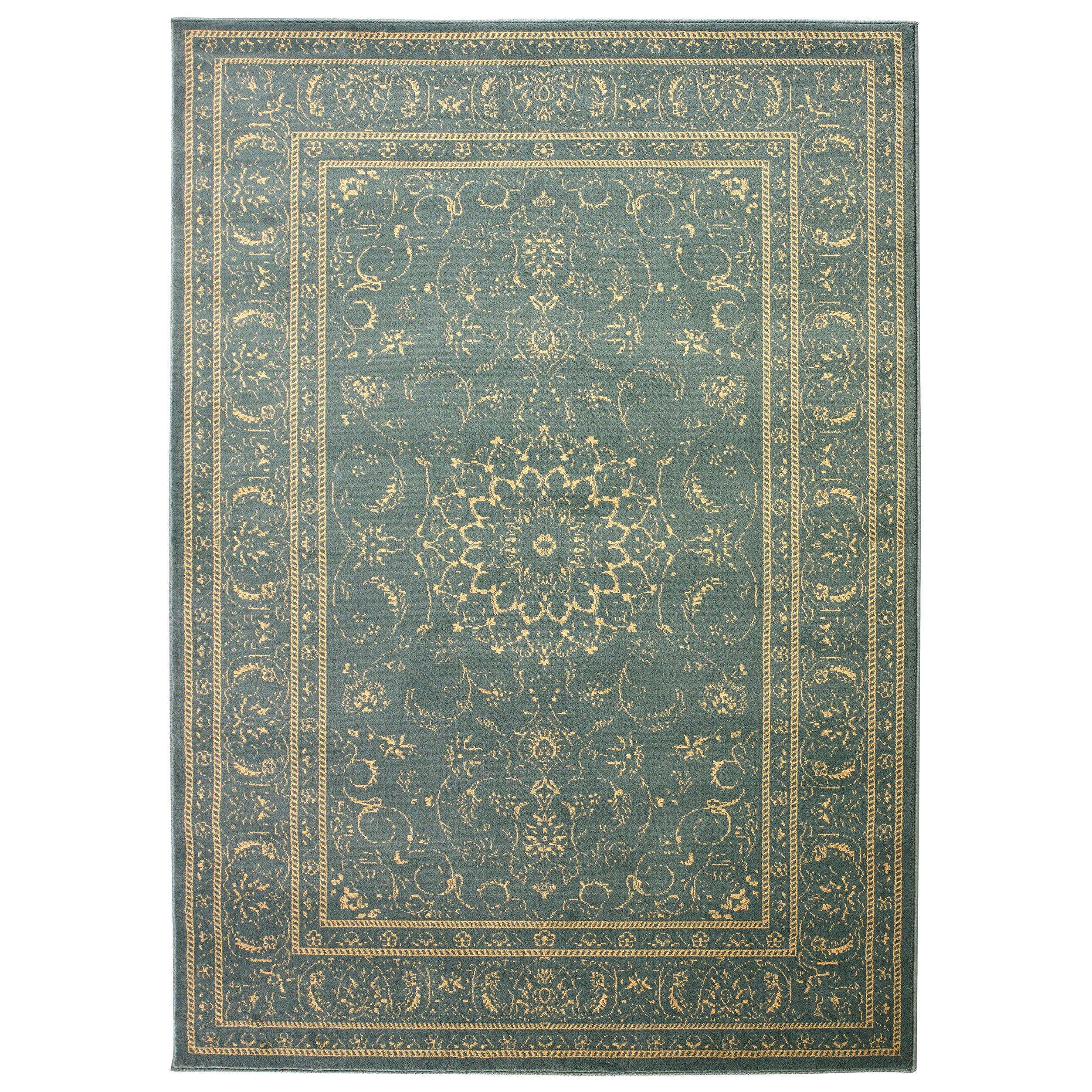 Diagona Designs Queen Teal/Beige Traditional Persian
