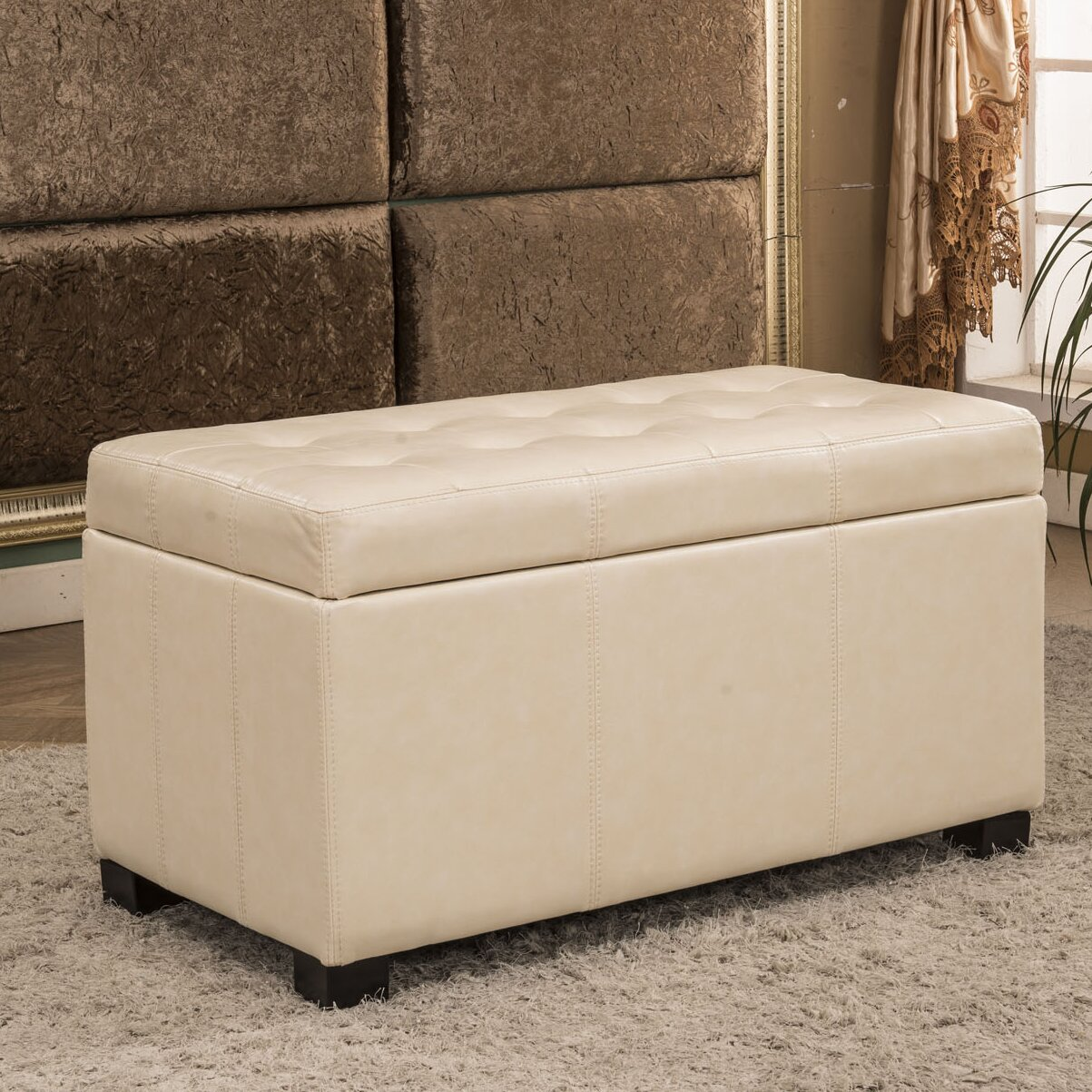 Upholstered Foyer Bench : Bellasario collection upholstered storage entryway bench