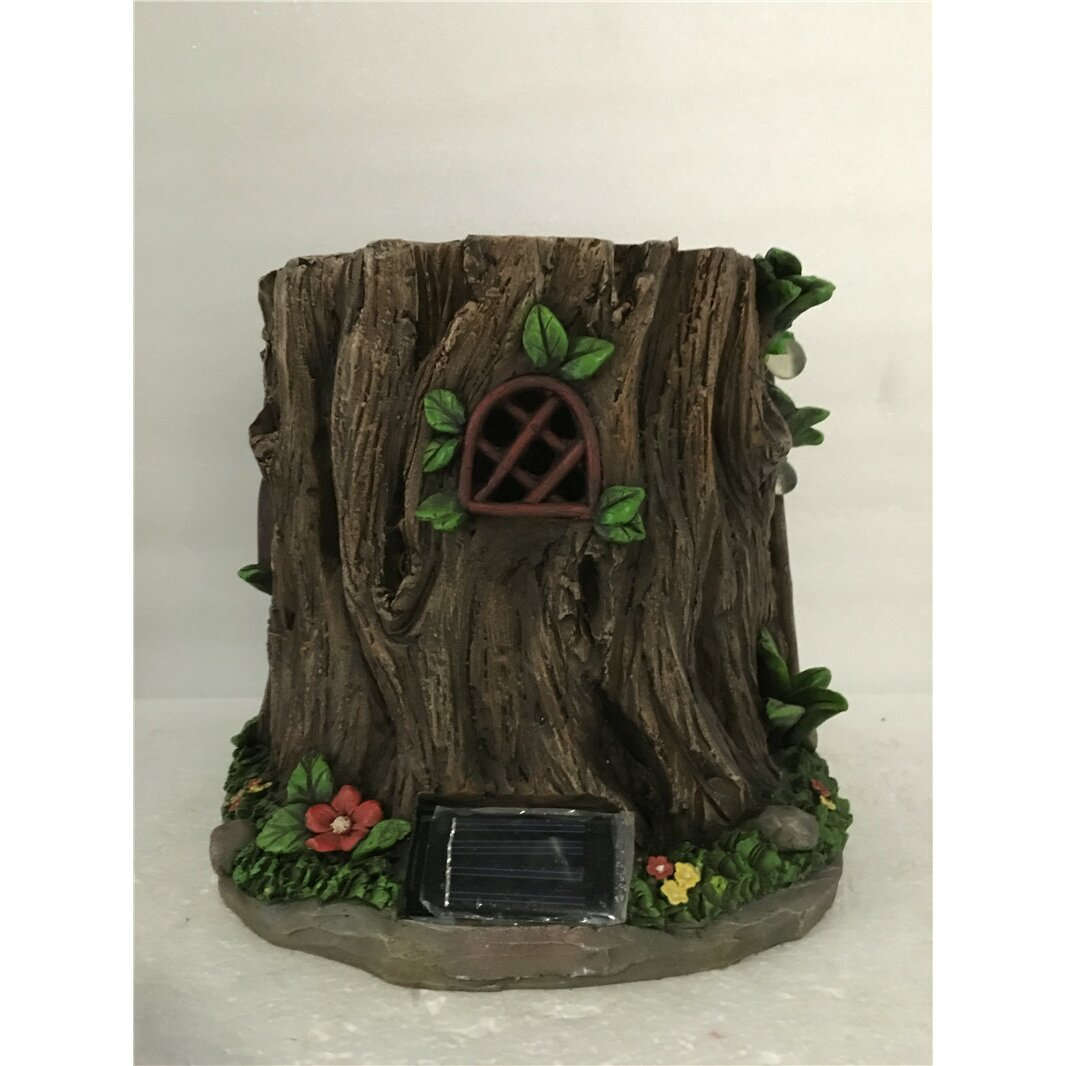 hi line gift ltd fairy garden tree trunk house with solar. Black Bedroom Furniture Sets. Home Design Ideas