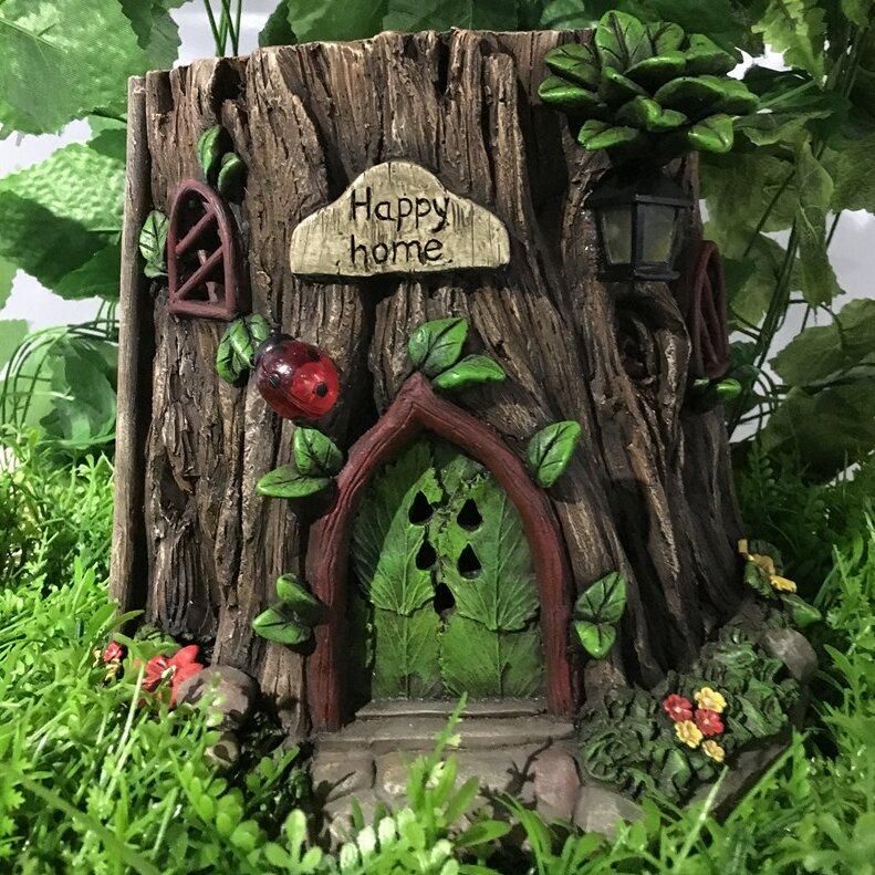 Hi Line Gift Ltd Fairy Garden Tree Trunk House With Solar