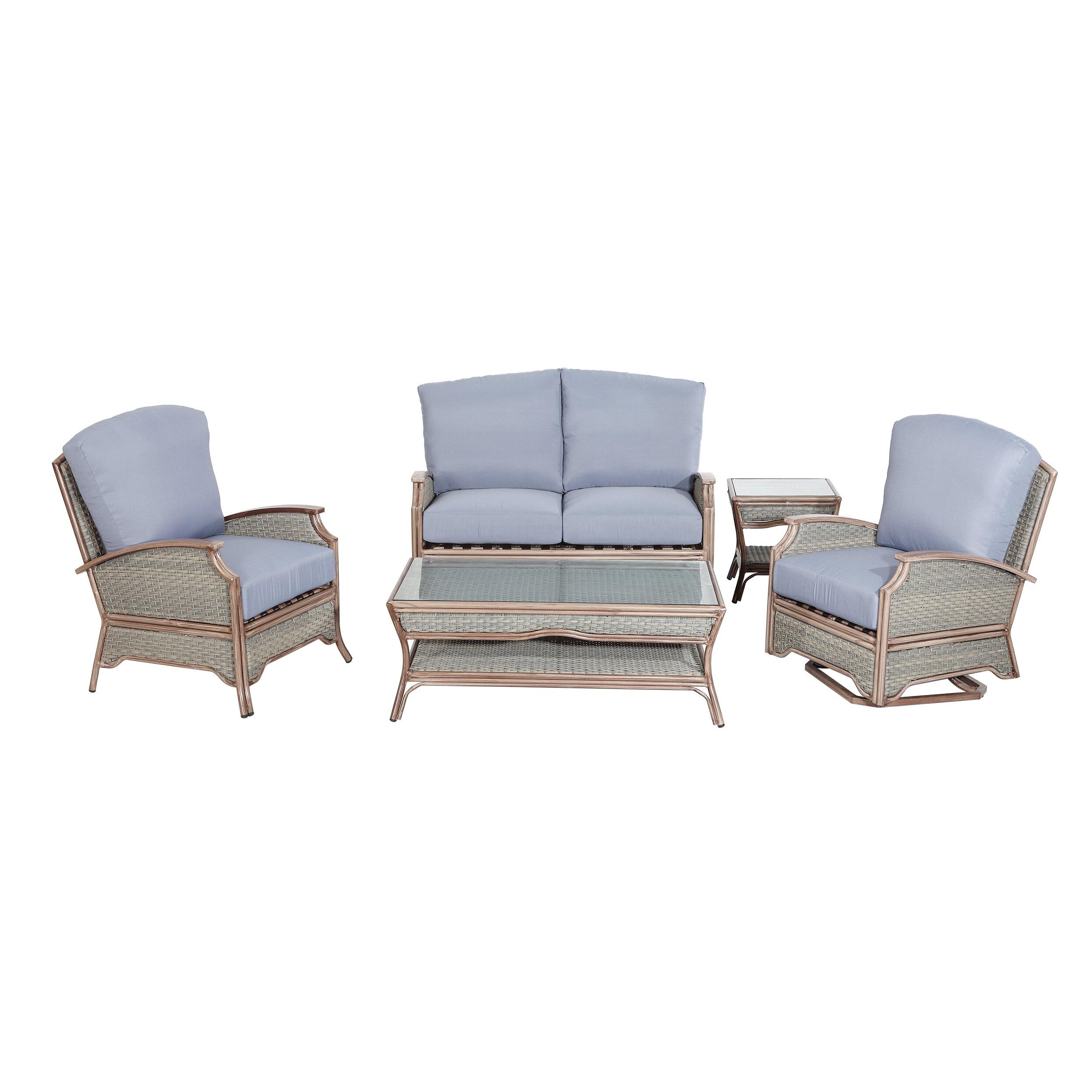 Marvelous Rattan Outdoor Furniture Pompano 5 Piece Deep Seating Group Wayfair .