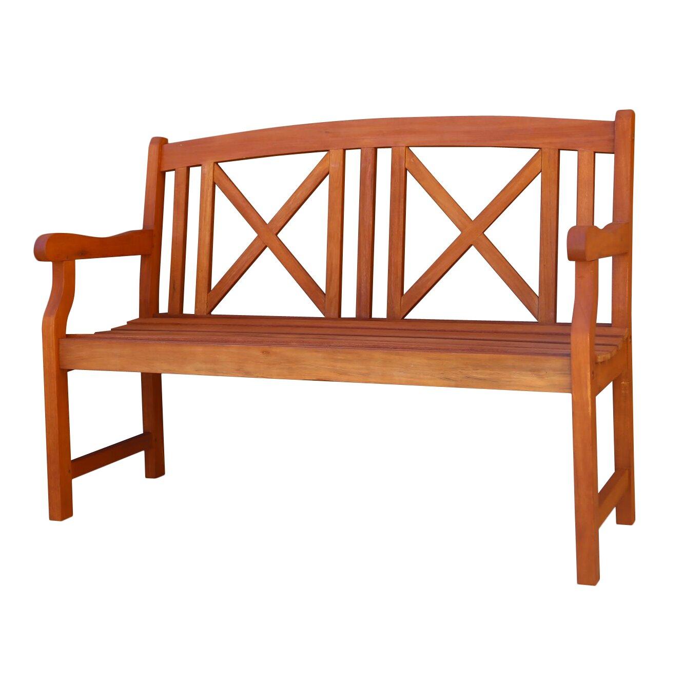 Contemporary Outdoor Benches: Vifah Contemporary Outdoor Wood Garden Bench & Reviews