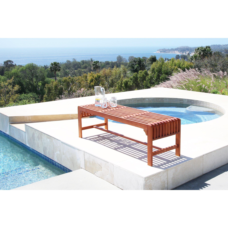 Vifah Backless Wood Three Seater Garden Bench Reviews Wayfair