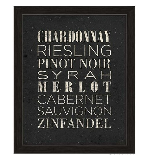 Black And White Wine Wall Decor : Click wall art list of wine framed textual in black