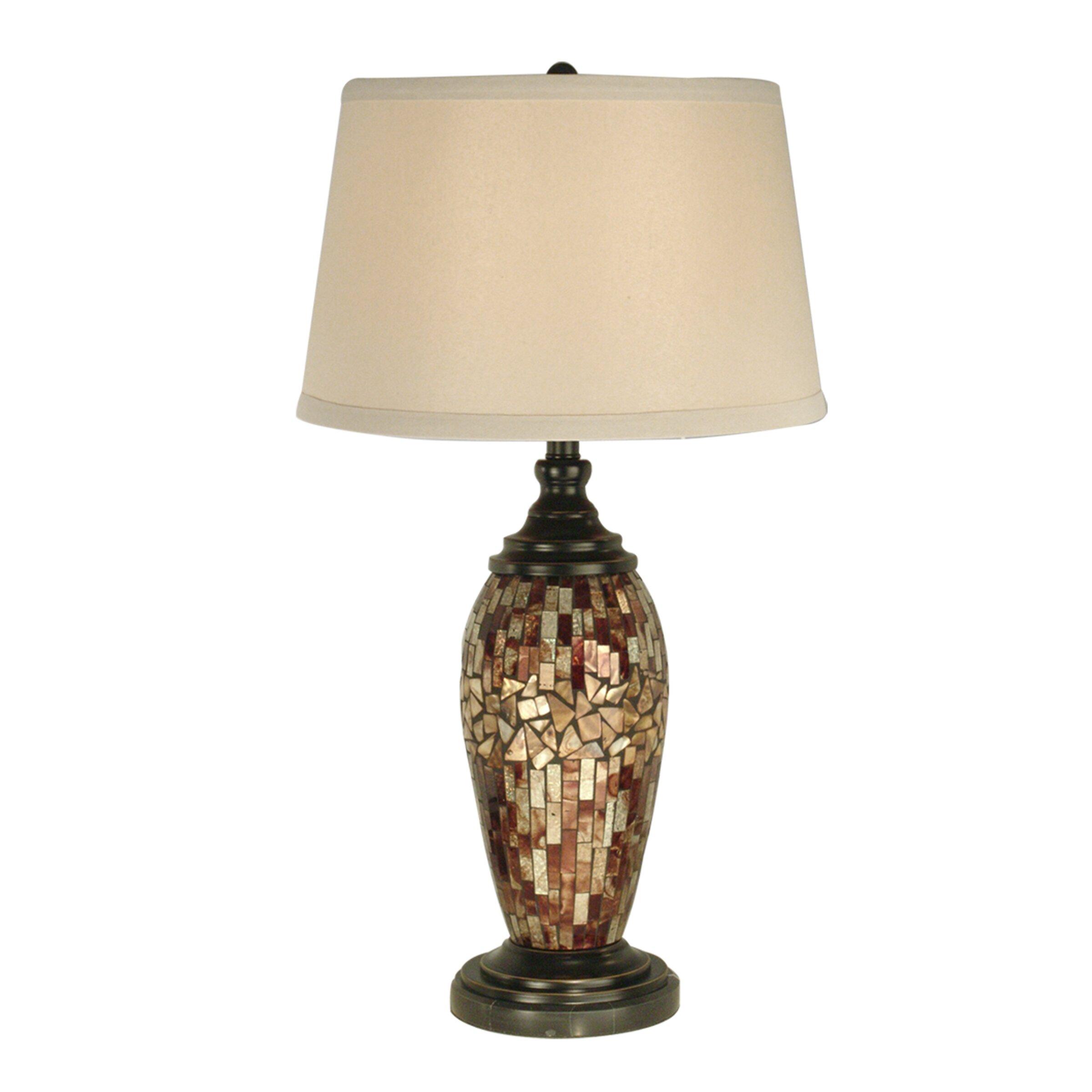 "Dale Tiffany Mosaic Oval Art Glass 30"" Table Lamp ..."