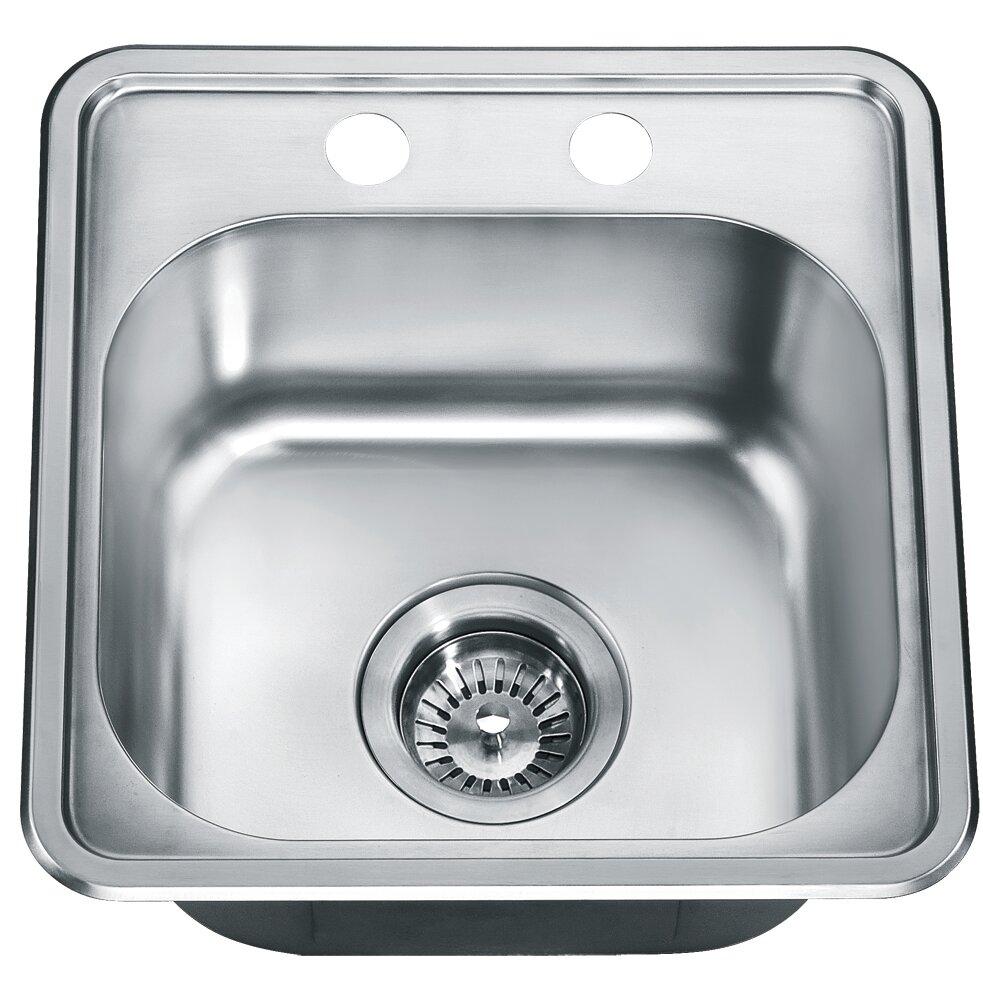 """Top Mount Sink Kitchen: Dawn USA 15.25"""" X 14.88"""" Top Mount Single Bowl Kitchen"""