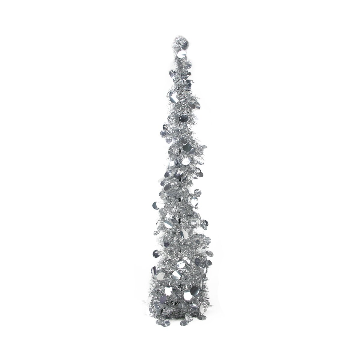 Silver Tinsel Pop Up Christmas Tree: PennDistributing 2.75' Silver Artificial Christmas Tree