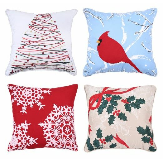 Affluence Home Fashions Holiday Embroidered Throw Pillow & Reviews Wayfair