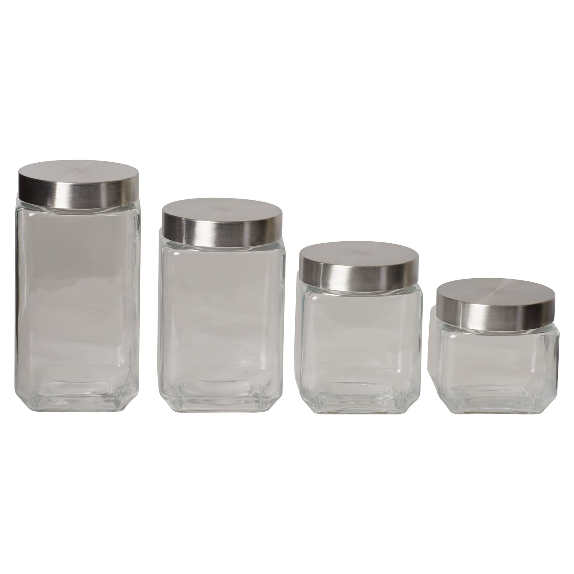 wayfair basics wayfair basics 4 piece square glass 54 oz stackable square canister