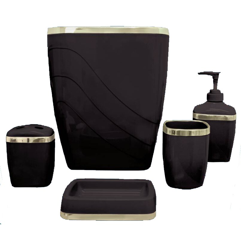 Wayfair basics wayfair basics 5 piece bathroom accessory for Black bath accessories sets