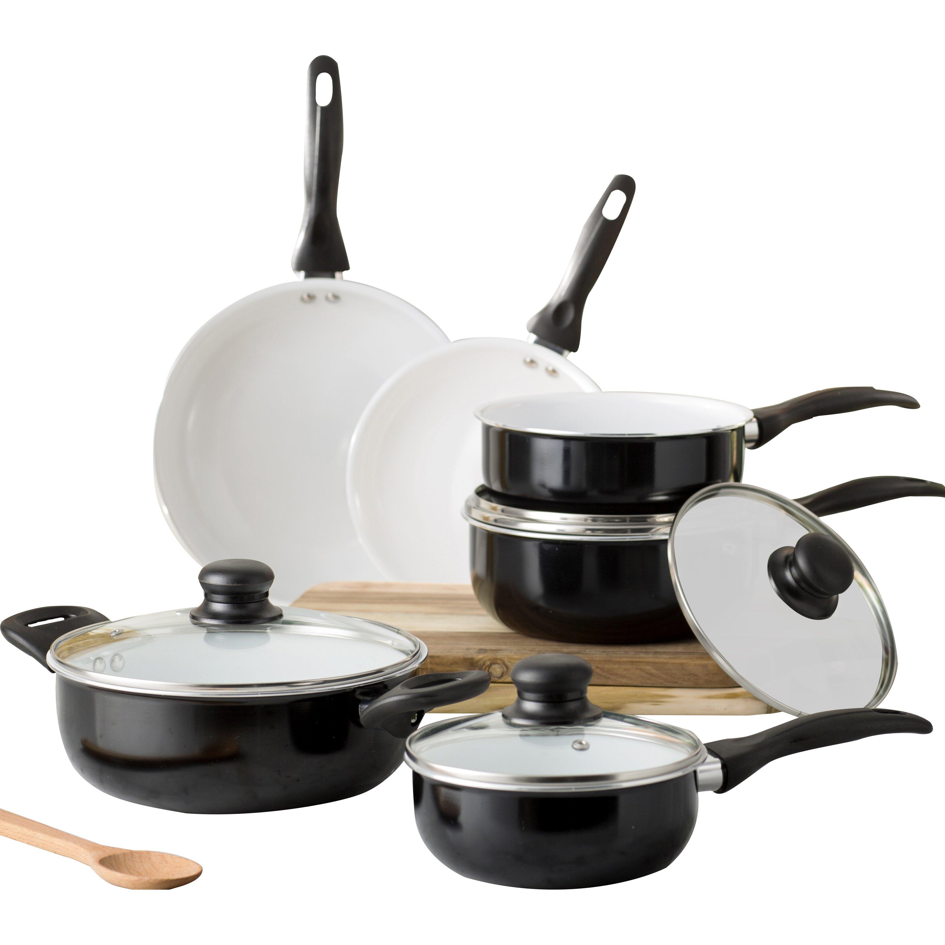 Wayfair basics wayfair basics 10 piece non stick ceramic for Kitchen set non stick