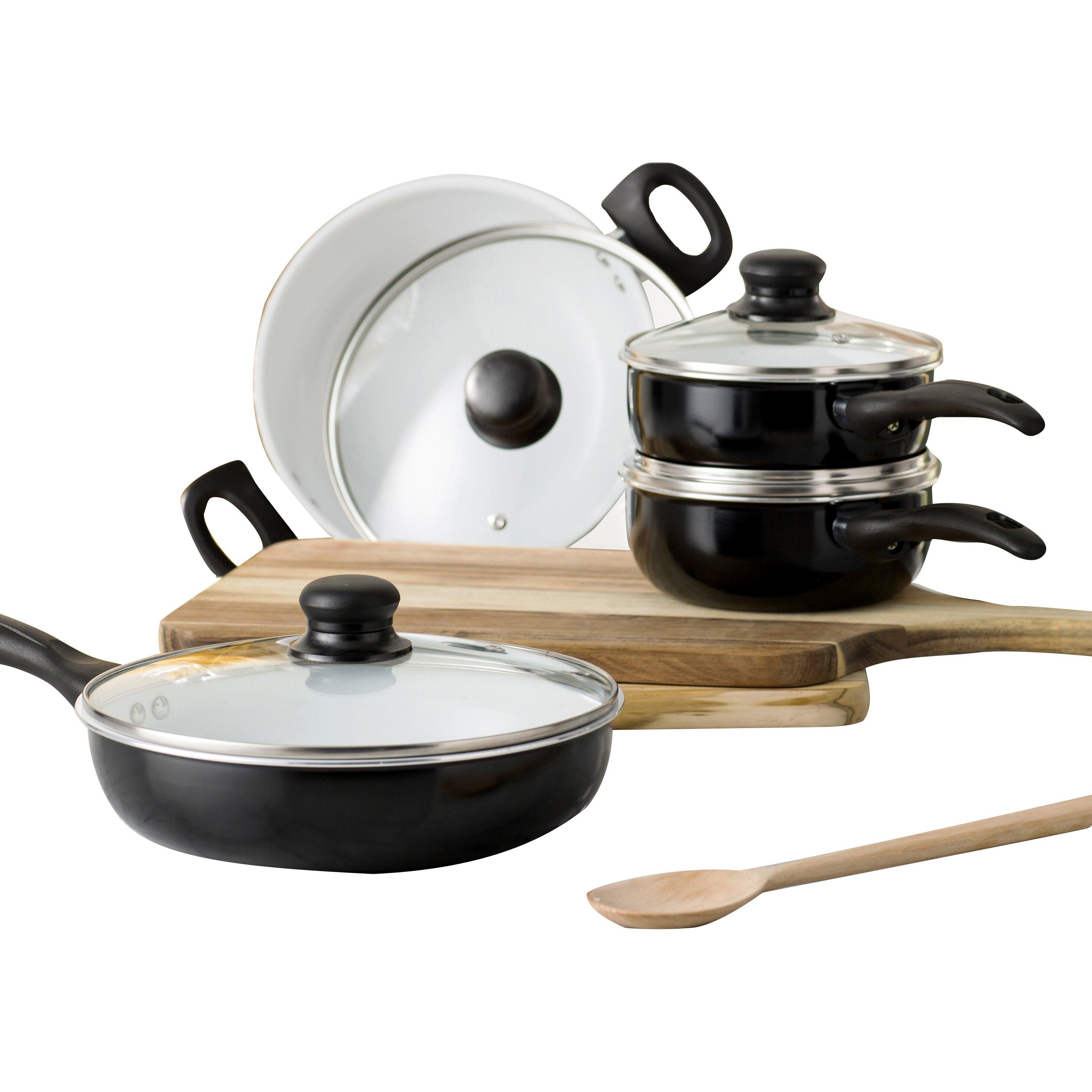 Wayfair basics wayfair basics 8 piece non stick ceramic for Kitchen set non stick