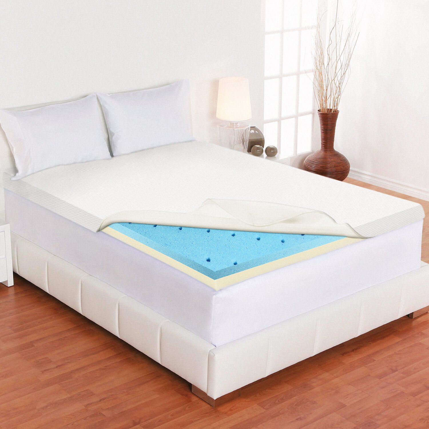 Spinal Solution Gel Infused High Density Foam Mattress Topper With Removable Cover Wayfair