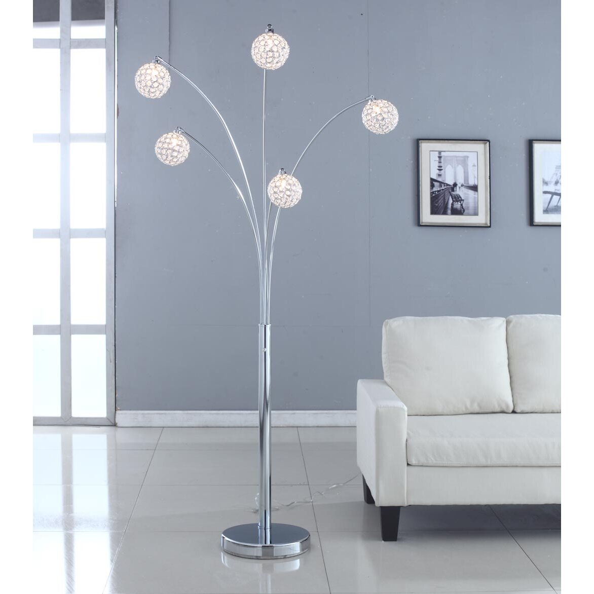 Artiva usa manhattan 5 arch crystal ball 84 arched floor for Arch floor lamps for living room