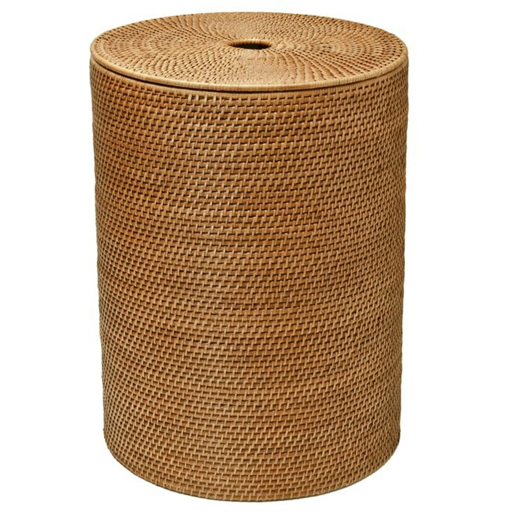 Kouboo round rattan laundry hamper with cotton liner reviews wayfair - Rattan clothes hamper ...