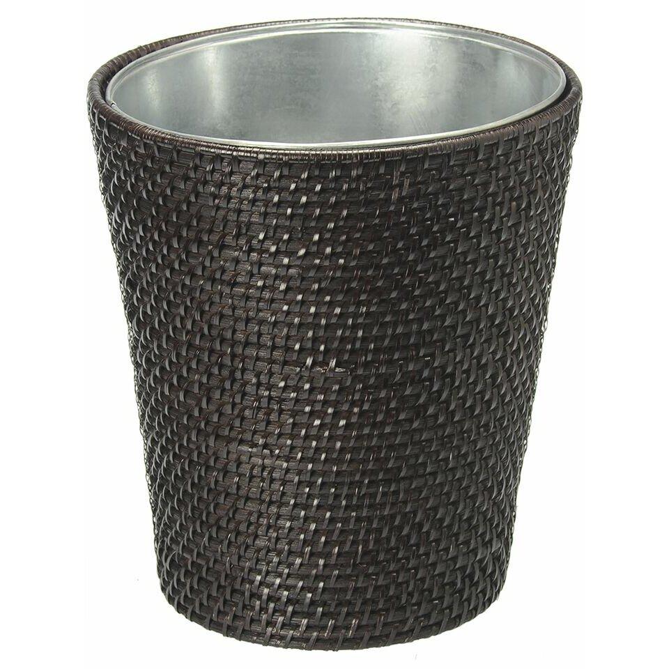 Kouboo laguna handwoven round rattan waste basket reviews wayfair - Rattan waste basket ...