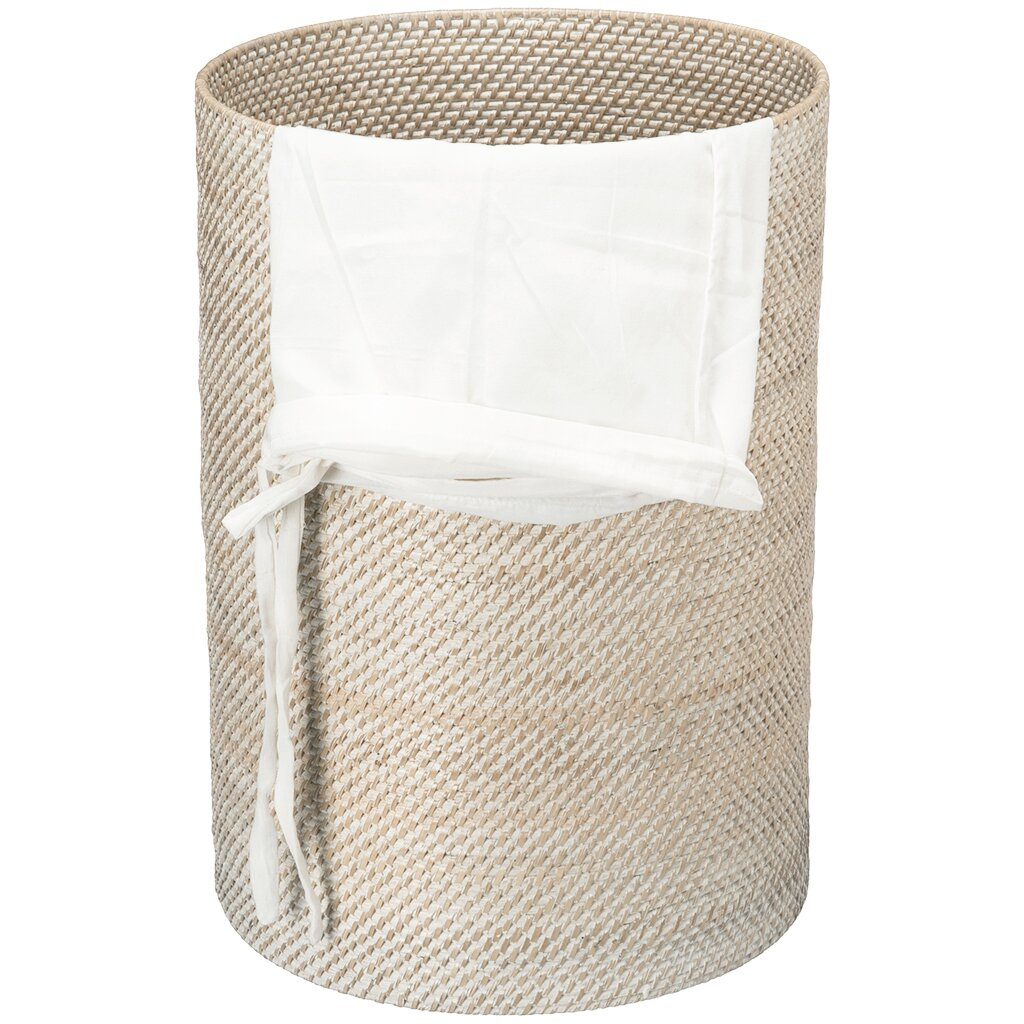 Kouboo round rattan laundry hamper with cotton liner reviews wayfair - Rattan laundry hamper ...