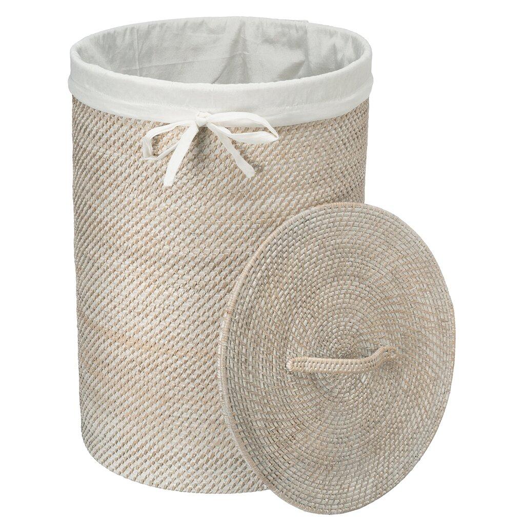 Kouboo round rattan laundry hamper with cotton liner reviews wayfair - Wicker hamper with liner ...