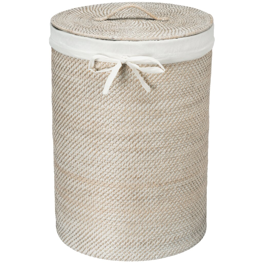 Kouboo round rattan laundry hamper with cotton liner reviews - Rattan clothes hamper ...