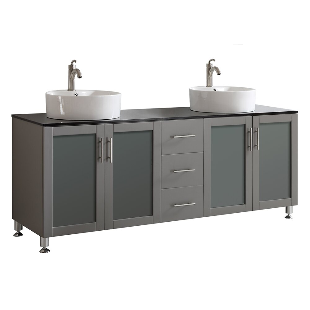 Vinnova tuscany 72quot double vanity set reviews wayfair for Tuscan bathroom vanity cabinets